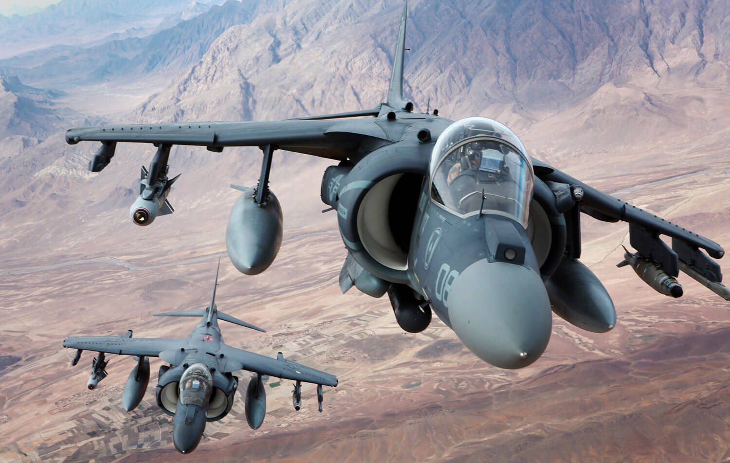 Two Harriers Flying over Afghanistan