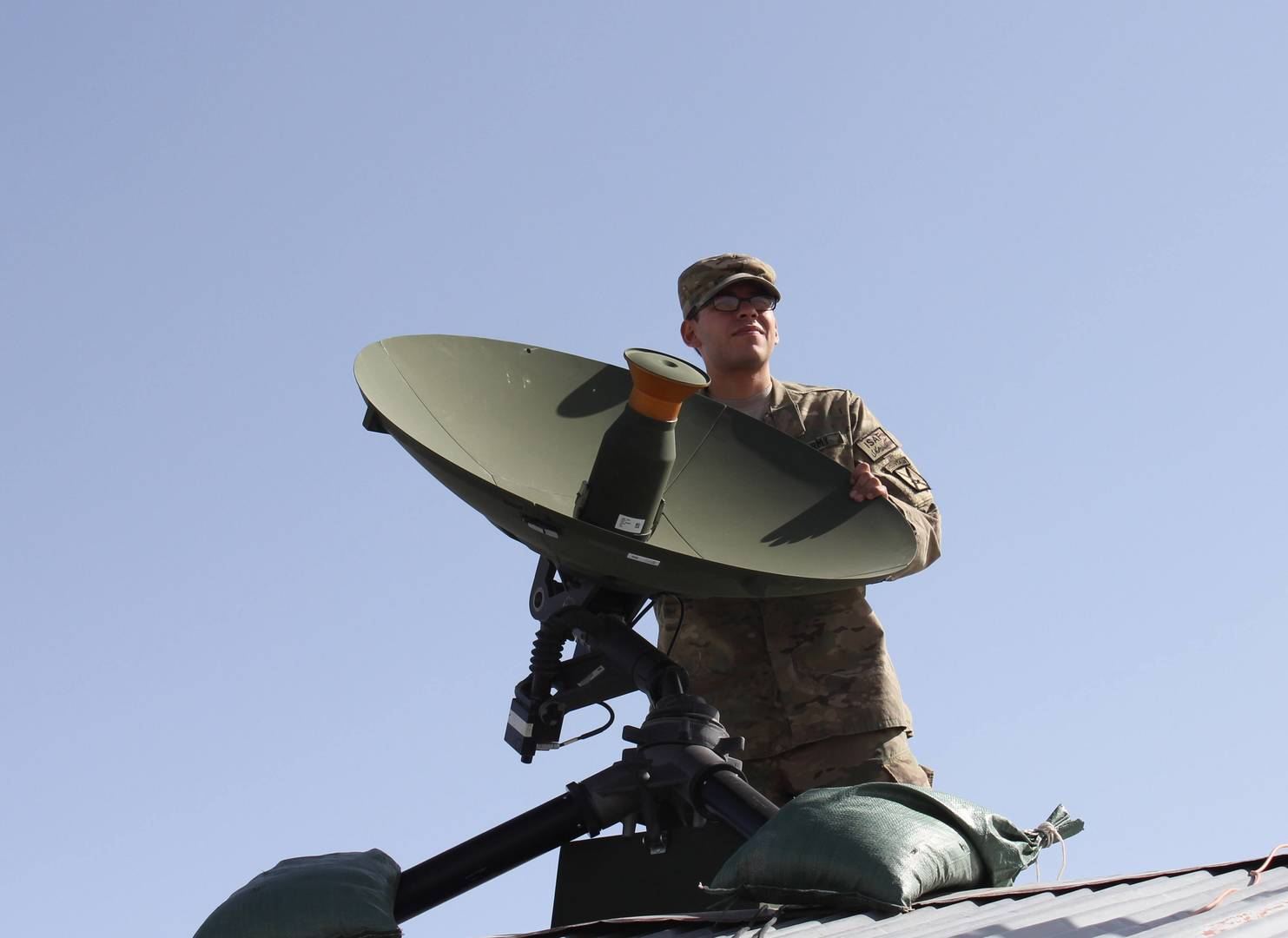 C4ISR - Army Soldier Uses Air Force Gobal Broadcasting System (GBS) to Direct Fire - Image