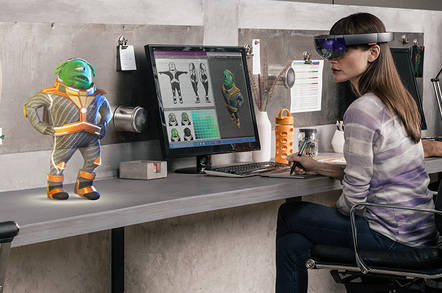Microsoft HoloLens Being Used at Desk